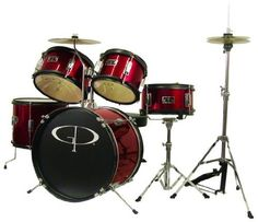 GP Percussion GP55RD 5Piece Junior Drum Set with Cymbals and Throne in Red -- Want to know more, click on the image.Note:It is affiliate link to Amazon.