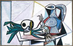 Pablo Picasso Still Life with Skull, Leeks and Pitcher 14 March 1945 Courtesy Fine Arts Museums of San Francisco Pablo Picasso, Kunst Picasso, Art Picasso, Picasso Paintings, Memento Mori, Museum Of Fine Arts, Art Museum, Picasso Still Life, Nogent Sur Marne