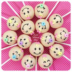 12 Baby Face Cake Pops for baby shower gender reveal party