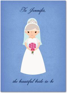 A Beautiful Bride - Wedding Congratulations Cards in Hydrangea | Rosy Designs