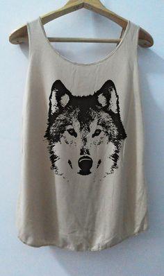 The Wolf sketch Shirt Animal shirt Women Shirt Tank Top Women T-Shirt Singlet Tunic Size S,M,L on Etsy, $15.00
