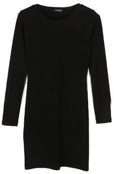 Black Round Neck Long Sleeve Whorl Dress