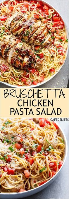 """Bruschetta Chicken Pasta Salad is a must make for any occasion in minutes! Filled with Italian seasoned grilled chicken, garlic and parmesan cheese! 