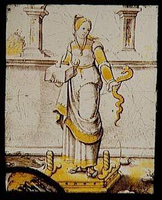 Réunion des Musées Nationaux-Grand Palais - Musée d'Ecouen, vitraux - La Prudence. E.CL.14660. XVI°s. France (origine).