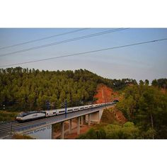 When sun goes down the Tren Hotel Barcelona-Galicia appears with a Siemens Euro Sprinter Renfe serie 252 UIC with 32 Talgo Serie VII wagons. Castellbisbal 7/08/2015 - #sunset #sun #bridge #mountains #train_nerds #trb_rxpress #splendid_transport #eisenbahnfotografie #rail_barons #railways_of_our_world #nikon #photographer #trains_worldwide #instatrains #trainstagram #naturelovers #nature  #skyline #sky #skyporn #bestoftheday #picoftheday #photooftheday #trains #photographyislifee #renfe…