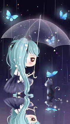 Imagen de art, cat, and wallpapers Kawaii Chibi, Cute Chibi, Anime Chibi, Chibi Wallpaper, Cute Girl Wallpaper, Cute Girl Drawing, Cute Drawings, Chibi Girl, Anime Dolls