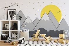 Mountains and Sun - Nursery - Wall Mural - Paper cut - Nursery Decor - Kids Room - Adhesive Fabric - Peel And Stick - SKU: MOUSU