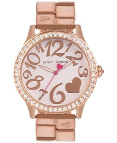Betsey Johnson Women's Rose Gold-Tone Bracelet Watch 42mm BJ00198-06