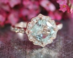 Vintage Inspired Floral Moissanite Engagement Ring by LaMoreDesign