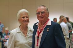 USS Arizona survivor Don Stratton with his spouse photographed in 2006 at the 65 observance.