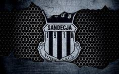Download wallpapers Sandecja, 4k, logo, Ekstraklasa, soccer, football club, grunge, Sandecja Nowy Sacz, metal texture, Sandecja FC