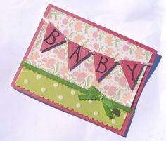 Cards Inspired - Handmade Pink Baby Banner Greeting Card - Perfect for Baby Shower | Cards Inspired