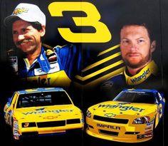The Earnhardt's Wrangler Car Nascar Race Cars, Nascar Sprint Cup, Dale Earnhardt Crash, Amy Earnhardt, Wrangler Car, The Intimidator, Sports Stars, Jr Sports, Impala