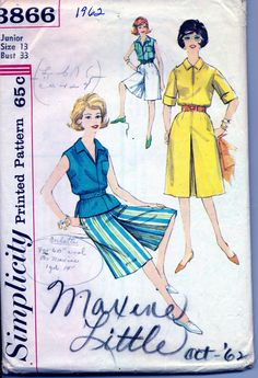 Vintage 1960's Women's Juniors Culottes and Blouse Pattern, Simplicity 3866 Sewing Pattern Size 13