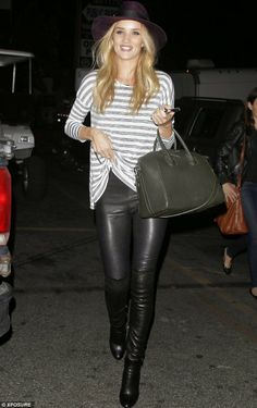 Rosie Huntington-Whiteley Stripped top, leather pants, army green handbag. Street style. Casual winter or autumn...well at least here in Aus.