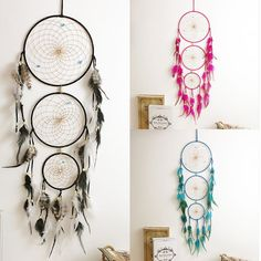 Handmade  3 Rings Turquoise Dream Catcher With Feather Wall Hanging Home Decor