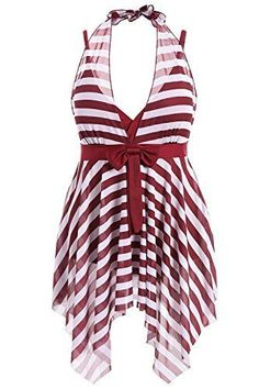 084a2d3d4621b Plus Size Skirted One Piece Stripe Swimwear