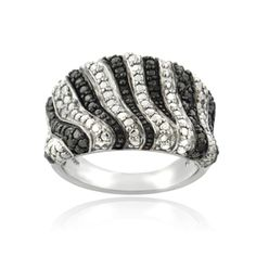 @Overstock - DB Designs Silvertone Black Diamond Accent Zebra Stripes Ring - Diamond RingBrass jewelryClick here for ring sizing guide  http://www.overstock.com/Jewelry-Watches/DB-Designs-Silvertone-Black-Diamond-Accent-Zebra-Stripes-Ring/8924730/product.html?CID=214117 $18.89