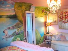 Girl's bedroom wall mural
