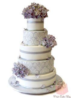 five tier white purple damask wedding cake