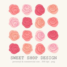 Rose Flower Clip Art, Royalty Free Clip Art, N02, Instant Download by SweetShopDesign, $4.95