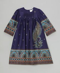 Another great find on #zulily! Purple & Blue Paisley A-Line Dress - Toddler & Girls #zulilyfinds