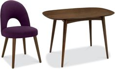 Bentley Designs Oslo Walnut Dining Set - 4 Seater Fixed Table with Plum Fabric Chairs