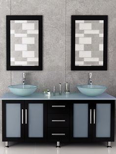 Inspiration Web Design  inch Double Lune Large Glass Vessel Sink Modern Bathroom Vanity with Glass Top