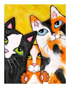 Three Cat Squeeze Pose by Jamie Wogan Edwards at Art.com♥•♥•♥