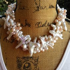 Please Pin if you LIKE!!!  20% Off Sale: Code 20OFF Bridal Pearl Statement Necklace, Handmade, Chunky, Bib, Collar, Twisted Wire Necklace - The One of a Kind Twisted Sister!