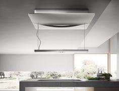 Campana isla de Cristalplant® con luces integradas EMPTY SKY Colección Stream by Elica diseño Fabrizio Crisà