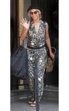 Beyoncé,Dagmar jumpsuit, Topshop hat, Longchamp and Gucci bags,On the street, Toronto,July 17, 2013