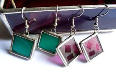 Green And Etched Purple Stained Glass Earrings  2 by AfricanSand, $32.00