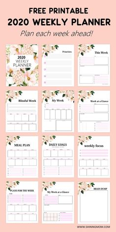 FREE Printable Weekly Planner So Beautiful in Florals! Our printable weekly planner 2020 can help you set your weekly goals, manage your todo's, and create your meal plan. Organize your schedule for the entire week! This beautiful free printable … Monthly Planner Printable, Diy Planner Printables, Weekly Planner Template, Printable Calendar Template, Planner Stickers, Free Planner Pages, Daily Planner Free, Bullet Journal Free Printables, Daily Schedule Printable