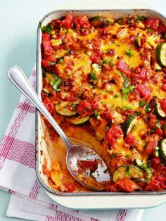 Beef and tomato casserole with polenta crust
