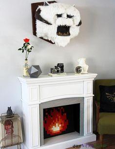 Geek decor: DIY Star Wars Wampa Head! Full tutorial. Plus our DIY 8-bit fireplace, giant D20, and Zelda pillows.