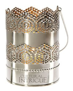 Large Punched Tin Shadow Lantern (lace design) - lantern