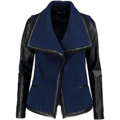 Vince Leather trimmed wool blend boucl jacket (£560) ❤ liked on Polyvore featuring outerwear, jackets, leather sleeve jacket, wool-blend jacket, vince jacket, blue boucle jacket and leather trim jacket
