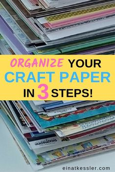 Organize all your craft paper in three easy steps. End the clutter and organize . Organize all your craft paper in three easy steps. End the clutter and organize a paper storage in Scrapbook Paper Organization, Scrapbook Paper Storage, Craft Paper Storage, Craft Organization, Scrapbook Rooms, Organizing Tips, Scrapbook Supplies, Stamp Storage, Organising