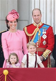 Catherine, Duchess of Cambridge, Princess Charlotte of Cambridge, Prince George of Cambridge and Prince William, Duke of Cambridge look out from the balcony of Buckingham Palace during the Trooping the Colour parade on June 17, 2017 in London, England.