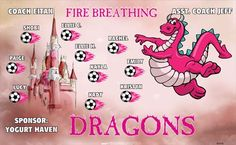 Fire Breathing Dragons B55192  digitally printed vinyl soccer sports team banner. Made in the USA and shipped fast by BannersUSA.  You can easily create a similar banner using our Live Designer where you can manipulate ALL of the elements of ANY template.  You can change colors, add/change/remove text and graphics and resize the elements of your design, making it completely your own creation.