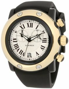 Glam Rock Women's GW25131 Miami Beach Chronograph Silver Dial Black Silicone Watch Glam Rock. Save 10 Off!. $445.50. Silver textured dial with black hands and roman numerals; luminous; black composite bezel; gold ion-plated stainless steel crown and pushers with black cabochon. Chronograph functions with 60 second and 30 minute subdials; date function. French quartz movement. Water-resistant to 100 m (330 feet). Mineral crystal; black composite case with gold ion-plated stainl...