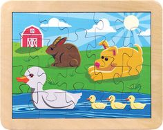 Great beginner puzzle for ages 3+.  Duck Pond, available at www.IntraNationalMall.com
