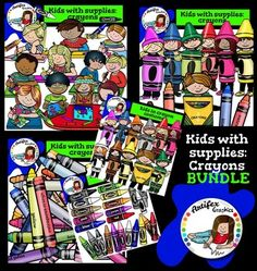 Kids with supplies-Crayons BUNDLE includes these 4 packs:The Following Included Sets Are Also Sold Seperately:  Kids in crayon costumes and crayons clip art  Kids drawing with crayons and crayons clip art   Crayons clip art set1. Color and B&W  Crayons clip art set2.