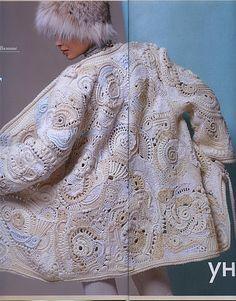 crochet all in shades of ivory Cardigan Au Crochet, Gilet Crochet, Crochet Coat, Crochet Motifs, Crochet Jacket, Freeform Crochet, Irish Crochet, Crochet Yarn, Crochet Clothes