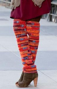 Knee High Legwarmers - Keep warm and stylish this fall with this simple crochet pattern. A fun patterned yarn will speak many levels with this design. Show off your fashion sense this season!