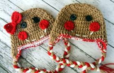 Little Mr. & Miss Gingerbread Beanies For Twins Available in Newborn to 5 Years Size- MADE TO ORDER
