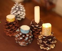 How to Make Pine Cone Candle Holders #home #decor #centerpiece