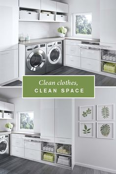 With plenty of sleek cabinet space, a laundry room becomes both serene and efficient. Pull-out wire baskets offer flexible storage for linens and built-in cabinets provide concealed storage for supplies.