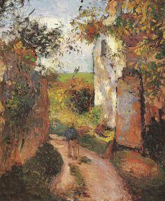 """Camille Pissarro (1830-1903) ~ """"Pontoise, Paysan dans une ruelle à L'Hermitage, la """"Maison Rondest"""", 1876 ~ Huile sur toile, 46 x 38 cm"""